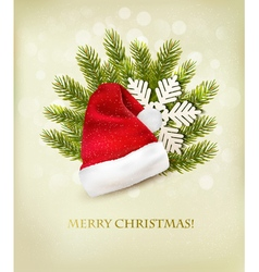 Holiday background with a santa hat and Christmas vector image vector image