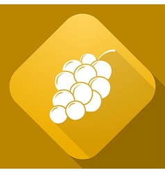 icon of Grapes with a long shadow vector image vector image