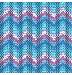 Knitted geometric pattern in violet blue and grey vector