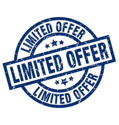 limited offer blue round grunge stamp vector image vector image