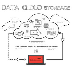 Line art of cloud computing technology service vector