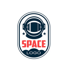 logo with astronaut s protective helmet in outline vector image vector image