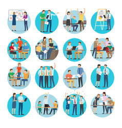 Office teamworking process collection on white vector