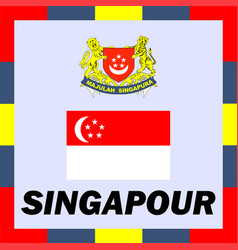 Official ensigns flag and coat of arm of singapour vector