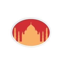 Paper sticker indian taj mahal on white background vector