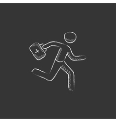 Paramedic running with first aid kit drawn in vector