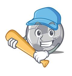 Playing baseball football character cartoon style vector