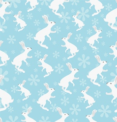 rabbit seamless pattern on blue background vector image