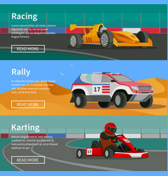 racing horizontal banners collection vector image vector image