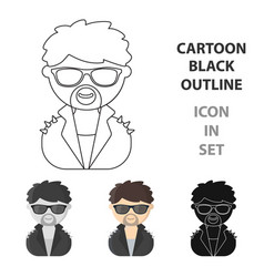 rock star cartoon icon for web and vector image