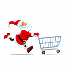 Santa run with shopping cart vector