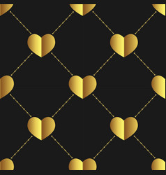 seamless golden hearts shapevalentines day vector image