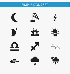 Set of 12 editable weather icons includes symbols vector