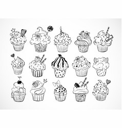 set of doodle sketch cupcakes with decorations on vector image vector image