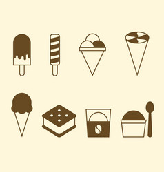 set of ice cream icon collection vector image vector image