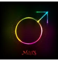 Shining neon light Mars astrological symbol vector image