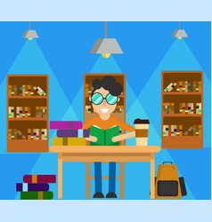 study in library vector image