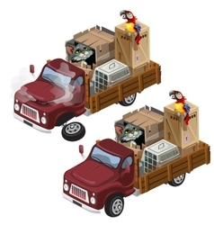 Truck for transportation homeless animals vector