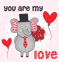 Valentine elephant with bouquet of flowers vector