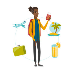 Young african traveler holding passport and ticket vector