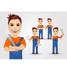 Young plumbers dressed in work clothes vector