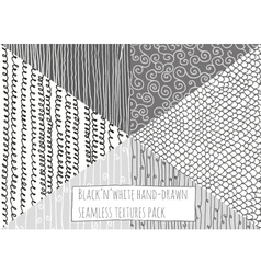 Black and white textures seamless hand-drawn vector