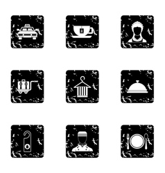 Hotel accommodation icons set grunge style vector