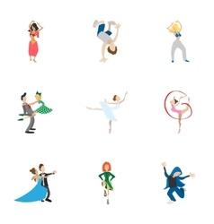 Dance styles icons set cartoon style vector