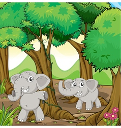 Two young elephants in the forest vector