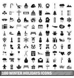 100 winter holidays icons set simple style vector image