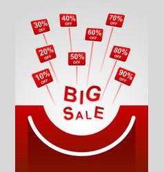 Big sale red plates indicating percent discount vector