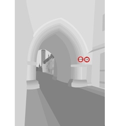 Old gothic gate today vector