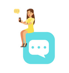 Young woman sitting on a big mobile app symbol and vector