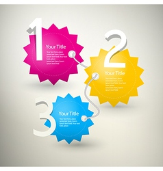 One two three colorful paper progress steps for tu vector