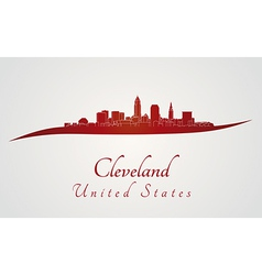 Cleveland skyline in red vector