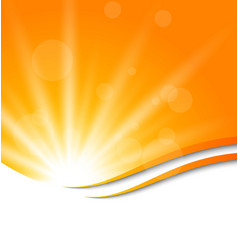 Abstract orange background with sun light rays vector