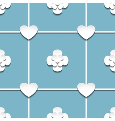 Hearts and flowers with shadow vector image