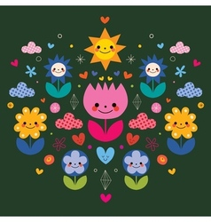 Cute cartoon flowers nature vector