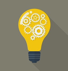 Lightbulb with gears vector