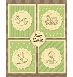 Baby shower card with retro toys vector