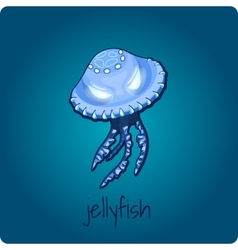 Single jellyfish on deep blue background vector