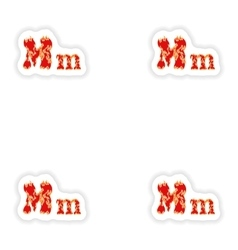 Assembly stickers fiery font red letter m on white vector