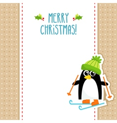 Funny penguin christmas greeting card design vector