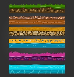 Seamless ground elements set landscape vector