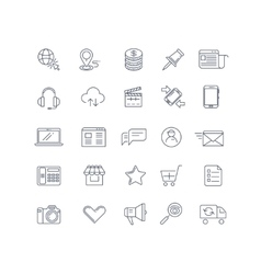 Internet marketing line icons set vector