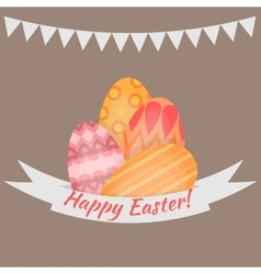 Easter holiday card with colorful eggs flat vector