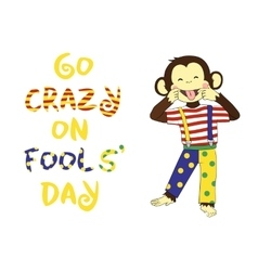 April 1 fools day cartoon funny banner vector