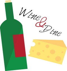 Wine and dine vector