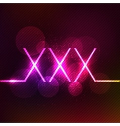 Neon glowing xxx sign adult only vector