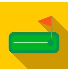 Green golf course with a hole and flagstick icon vector